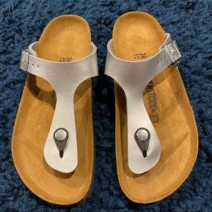 Silver Gizeh Birkenstock's Size 38